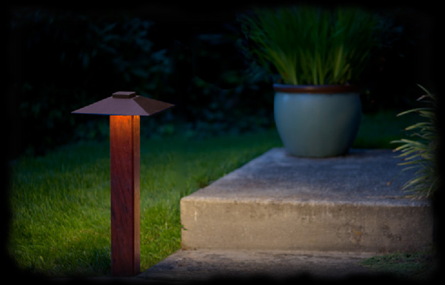 Photo of pathyway light in garden setting